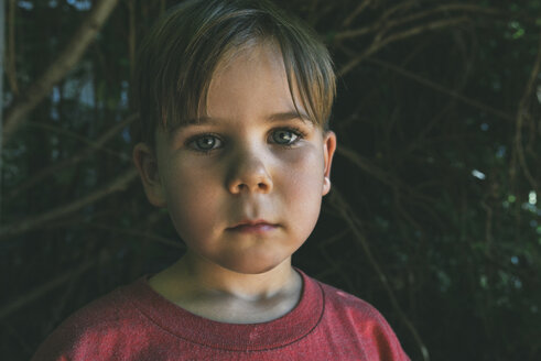 Close-up portrait of boy against trees at backyard - CAVF57416