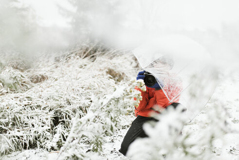 Boy with umbrella photographing in forest during winter - CAVF57458