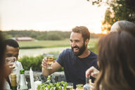 Cheerful male and female friends enjoying drink dinner in backyard during sunset - MASF09698
