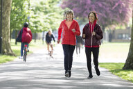 Active senior women friends jogging in park - CAIF22319