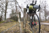 Bicycle with bags parked by fence on roadside in forest - MASF10148