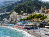 Italy, Amalfi, view to the historic old town with beach in the foreground - AMF06343