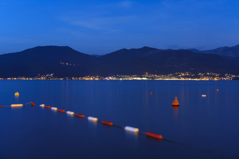 Montenegro, Bay of Kotor, Tivat, View from Krasici to Peninsula Lustica at blue hour - SIEF08150