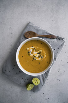 Lentil soup with sweet potato and bread, from above - MBEF01451