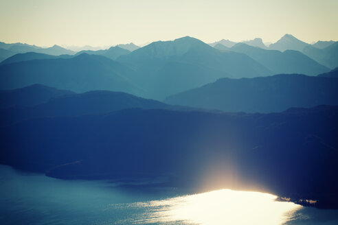 Scenic silhouetted nature view of the mountains at sunset - INGF08416