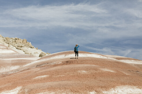 Rear view of female hiker standing on landscape - CAVF57586