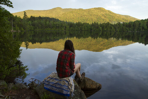 Rear view of woman looking at view while sitting on rock by pond in forest - CAVF57753