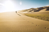 Rear view of carefree man walking on sand at Great Sand Dunes National Park during sunny day - CAVF57938