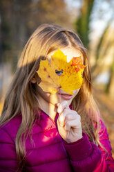 Portrait of girl looking through heart-shaped hole in autumn leaf - SARF04002