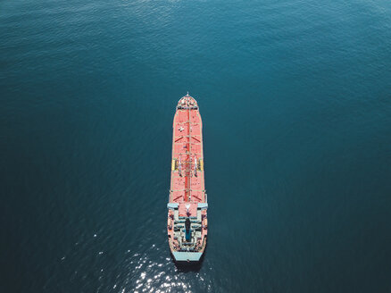 Indonesia, Bali, Aerial view of oil tanker - KNTF02447