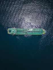 Indonesia, Bali, Aerial view of oil tanker - KNTF02450