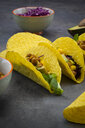 Vegetarian tacos with curcuma, roasted chickpeas, paprika, avocado, salad and red cabbage - LVF07579