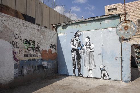 Palestine, West Bank, Bethlehem, Border, Border wall, graffiti - PST00278