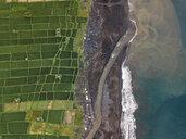 Indonesia, Bali, Keramas, Aerial view of Klotok beach, rice fields - KNTF02463