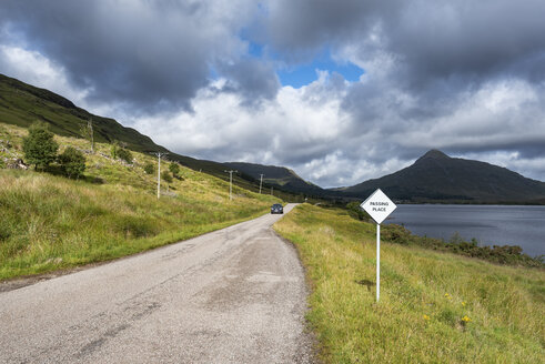 United Kingdom, Scotland, Sutherland, Lairg, Ben Stack, single road track with turnout - ELF01972