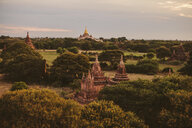 High angle view of Ananda Temple against cloudy sky during sunset - CAVF58189