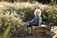 Portrait of boy sitting on wood amidst plants - CAVF58665