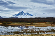 Chile, Torres del Paine National park, Lago Grey, mountainscape in fog - SSCF00281