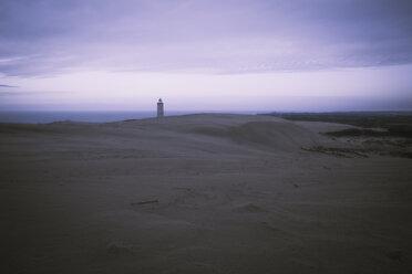 Denmark, North Jutland, Rubjerg Knude Lighthouse at blue hour - REAF00490