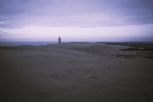 Denmark, North Jutland, Rubjerg Knude Lighthouse at blue hour - REAF00490