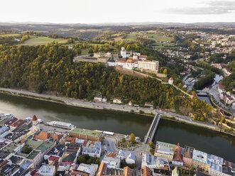 Germany, Bavaria, Passau, City of three rivers, Aerial view, Danube and Inn river, Veste Oberhaus - JUNF01565