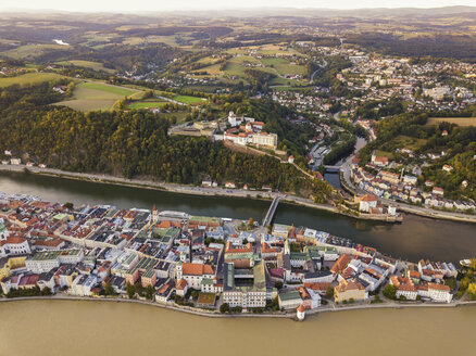 Germany, Bavaria, Passau, City of three rivers, Aerial view, Danube and Inn river, Veste Oberhaus - JUNF01568