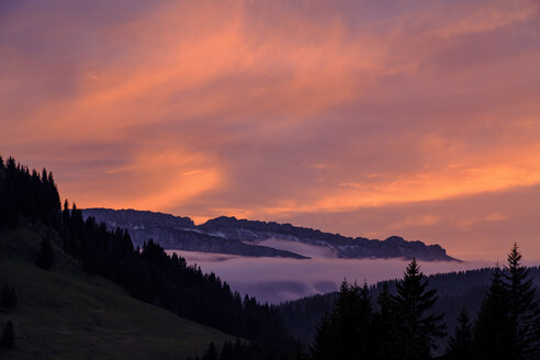 Germany, Bavaria, Swabia, Allgaeu Alps, Oberallgaeu, near Grasgehren, Gottesackerplateau at sunset - LBF02289