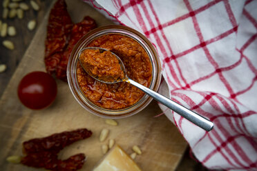 Glass of homemade tomato pesto - LVF07587