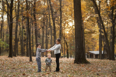 Siblings playing on field at park during autumn - CAVF59623