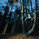 A man in a body suit hiding in the trees in the forest - INGF09119