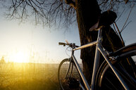 A bicycle overlooking a sunny field on a clear day - INGF09287
