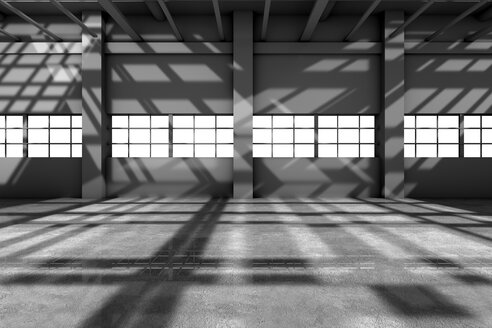 Architecture visualization of an empty warehouse, 3D Rendering - SPCF00295