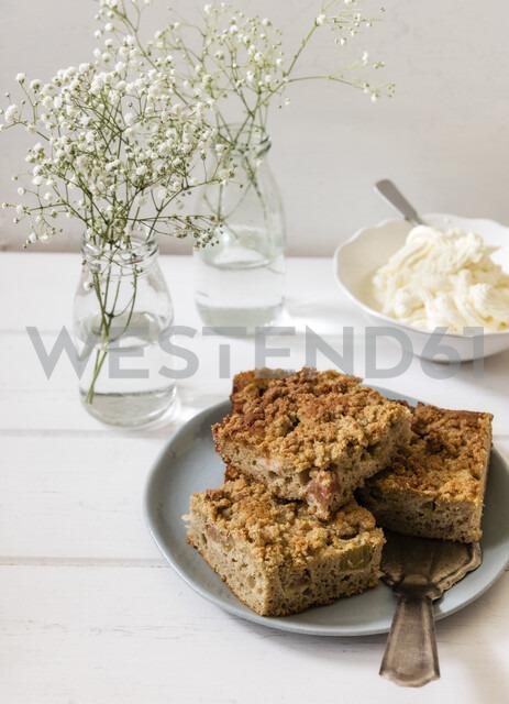 Rhubarb cake on plate - EVGF03405