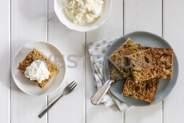 Homemade rhubarb cake with whipped cream - EVGF03408