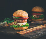 Close-up shot of a burger on a wooden board - INGF09948