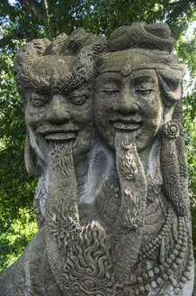 Indonesia, Bali, Ubud, Old stone statue in the Sacred Monkey Forest Sanctuary - RUNF00393