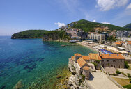 Montenegro, Adriatic Coast, Budva, Old town and city beach - SIEF08181
