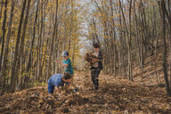 Brothers playing on leaves on field amidst trees during autumn - CAVF60342