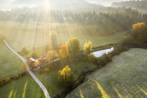 Germany, Bavaria, Aerial view of Kirchseebach river and Pelletsmuehl, sun light and morning fog - SIEF08208