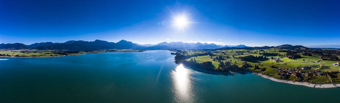 Germany, Bavaria, East Allgaeu, Fuessen, Schwangau, Dietringen, Aerial view of Lake Forggensee - AMF06425