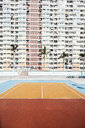 Hong Kong, Choi Hung, sports field in front of an apartment block - DAWF00789