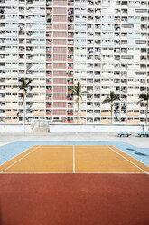 Hong Kong, Choi Hung, sports field in front of an apartment block - DAWF00789