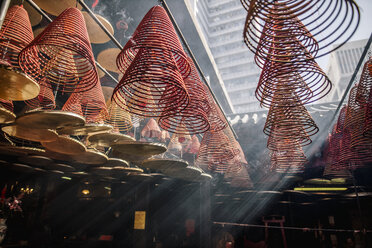 Hong Kong, Yau Ma Tei, Tin Hau Temple, incense spirals in light beam - DAWF00813