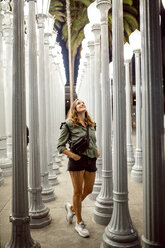 USA, California, Los Angeles, woman visiting Los Angeles County Museum of Art - DAW00829
