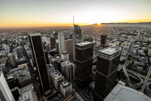 USA, California, Los Angeles, cityscape at twilight - DAWF00838
