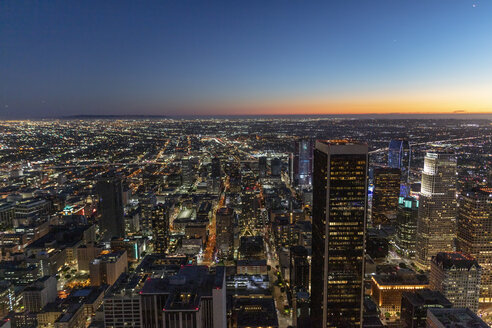 USA, California, Los Angeles, cityscape at blue hour - DAWF00841
