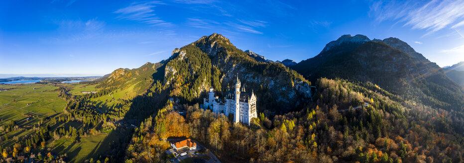 Germany, Bavaria, Hohenschangau, Aerial view of Neuschwanstein Castle in autumn - AM06464