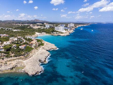 Spain, Baleares, Mallorca, Porto Colom, Aerial view of Cala Tropicana and Cala Domingo - AMF06479