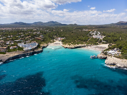Spain, Baleares, Mallorca, Porto Colom, Aerial view of Cala Tropicana and Cala Domingo - AMF06482