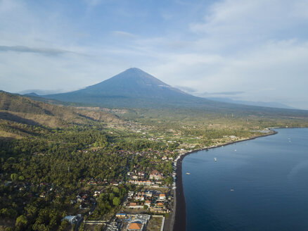 Indonesia, Bali, Amed, Aerial view of Amed beach and volcano Agung - KNTF02562